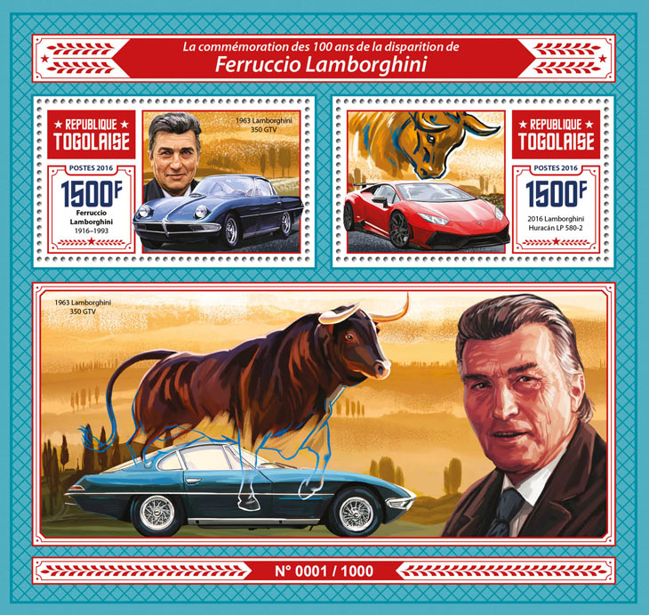 Ferruccio Lamborghini - Issue of Togo postage stamps