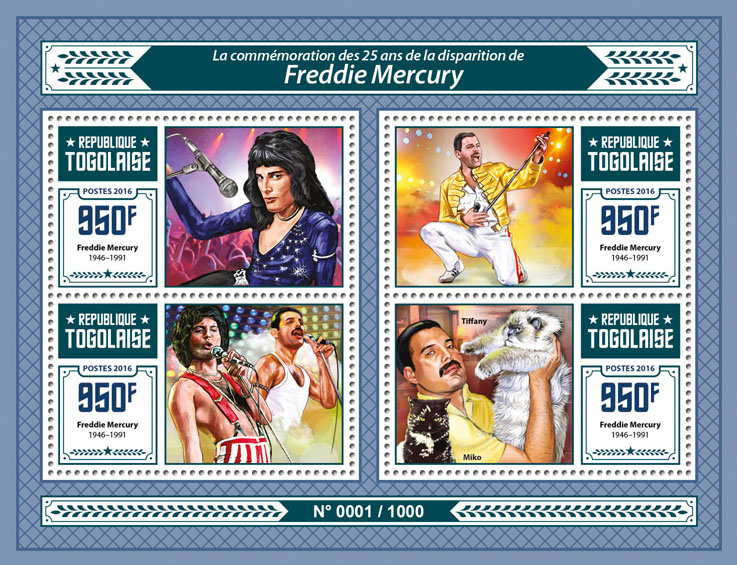 Freddie Mercury - Issue of Togo postage stamps