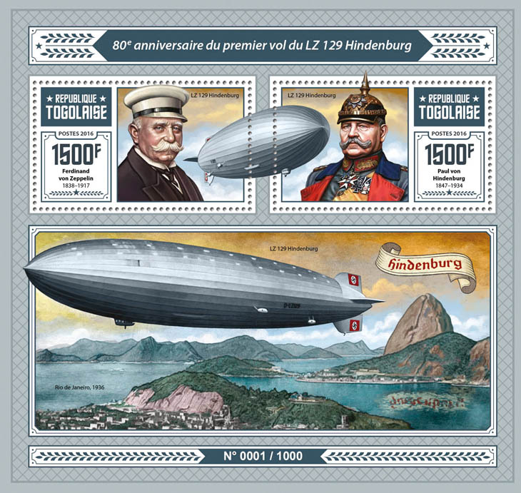 Zeppelins - Issue of Togo postage stamps