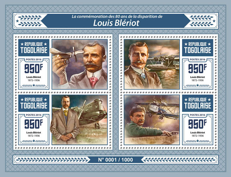 Louis Bleriot - Issue of Togo postage stamps