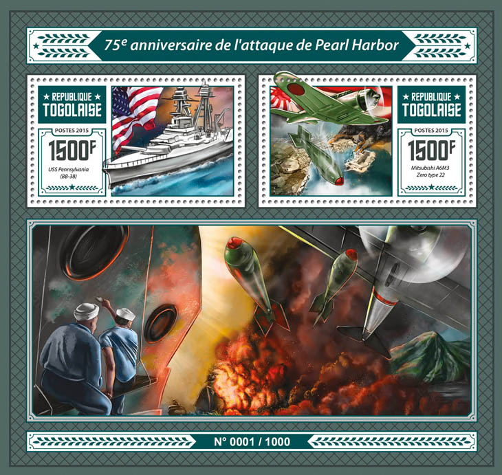 Pearl Harbor - Issue of Togo postage stamps