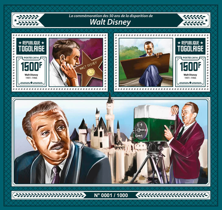 Walt Disney - Issue of Togo postage stamps