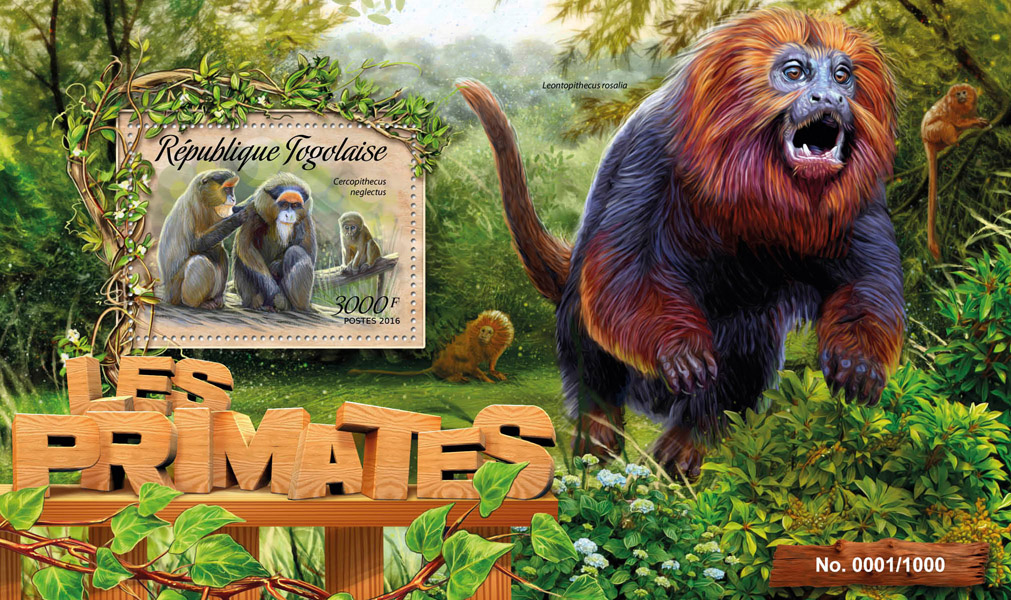 Primates - Issue of Togo postage stamps