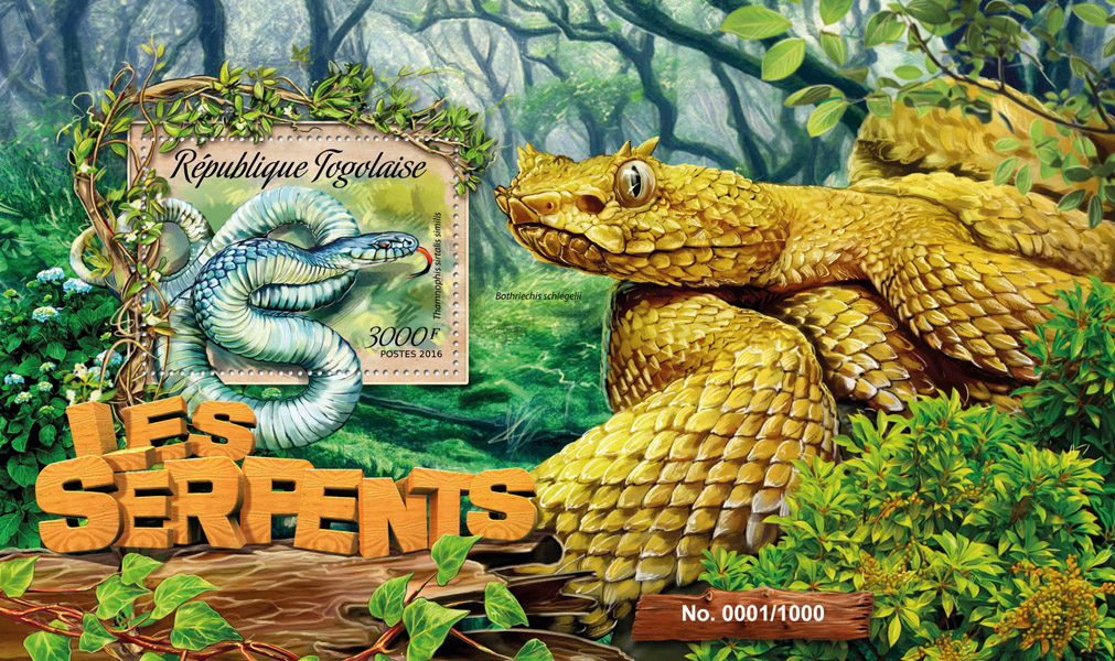 Snakes - Issue of Togo postage stamps