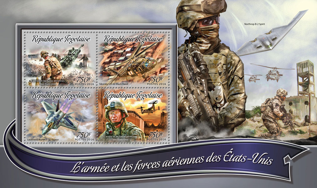 The army and air forces - Issue of Togo postage stamps
