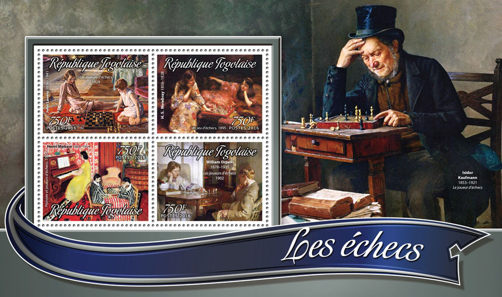 Chess - Issue of Togo postage stamps