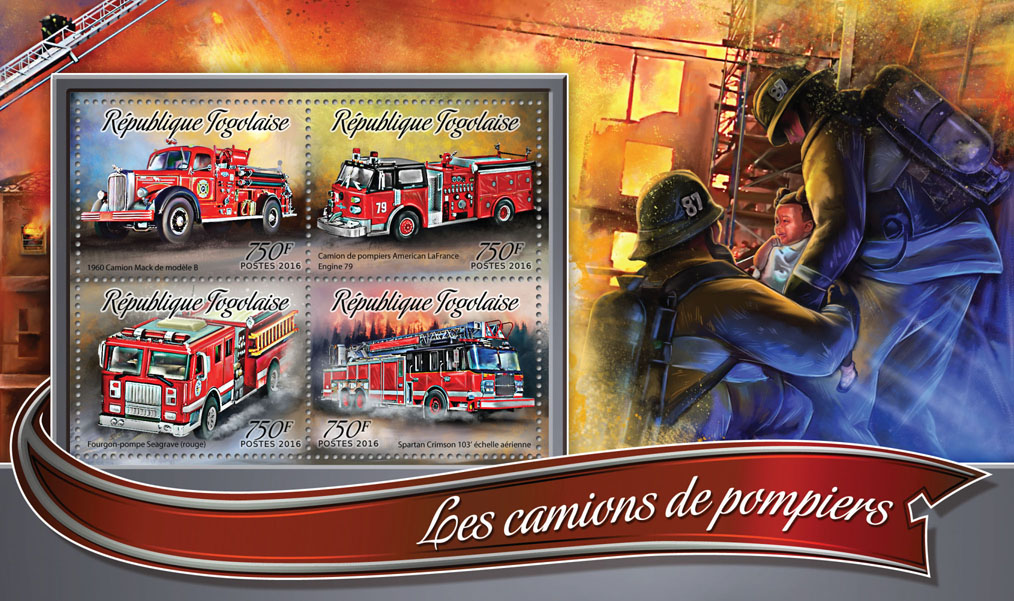 Fire trucks - Issue of Togo postage stamps