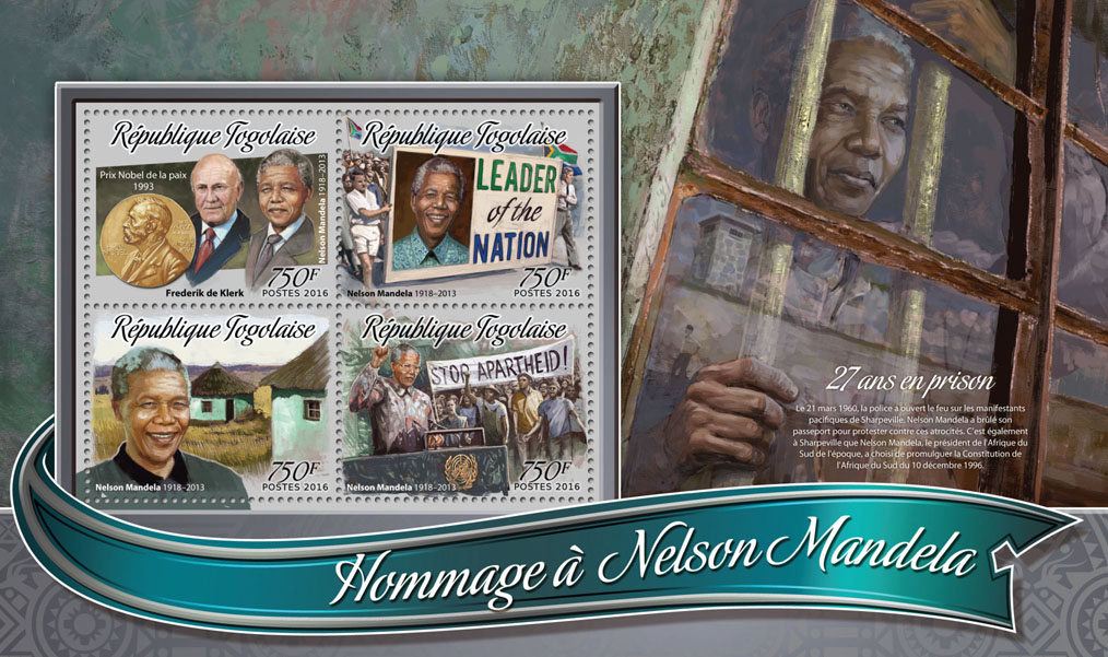 Nelson Mandela - Issue of Togo postage stamps