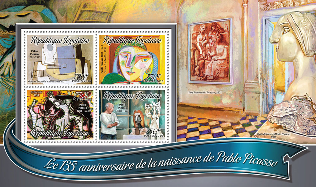 Pablo Picasso - Issue of Togo postage stamps