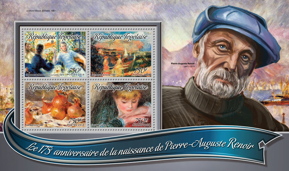 Pierre-Auguste Renoir - Issue of Togo postage stamps