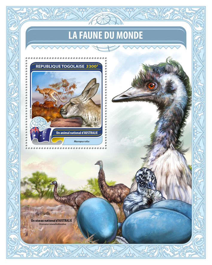 National animal of Australia - Issue of Togo postage stamps