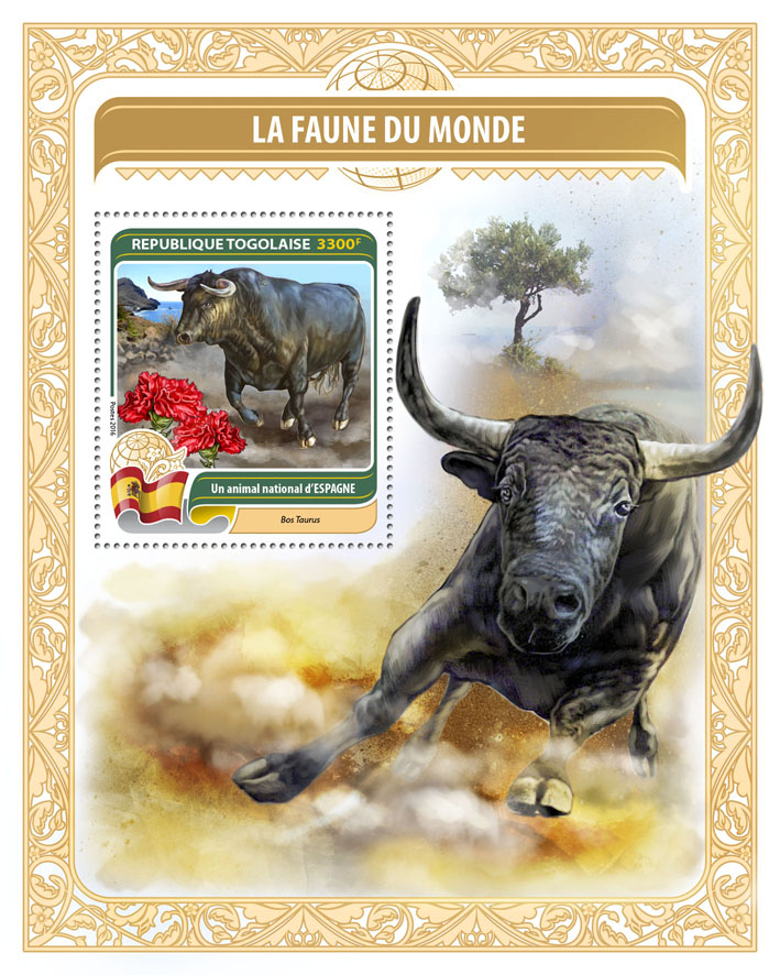 National animal of Spain - Issue of Togo postage stamps