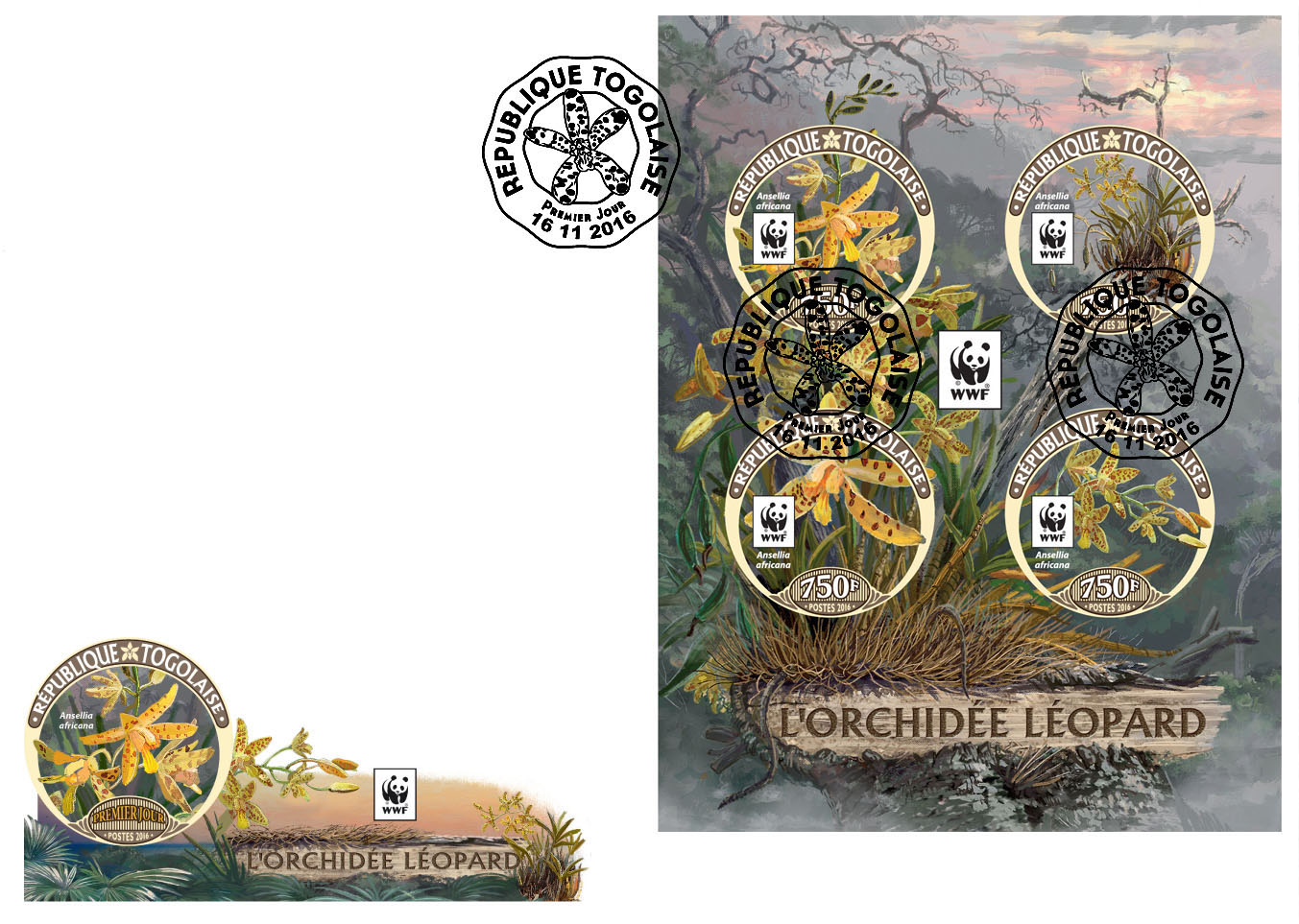 WWF – Orchids (FDC imperf.) - Issue of Togo postage stamps