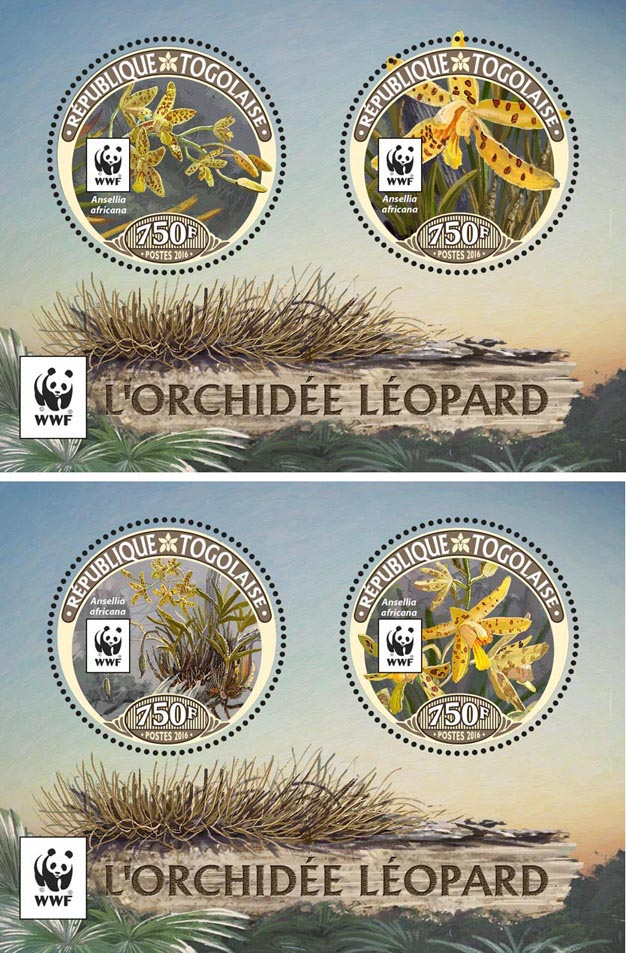 WWF – Orchids (set of 2 sheet) - Issue of Togo postage stamps