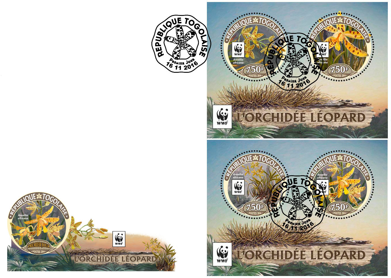 WWF – Orchids (FDC) - Issue of Togo postage stamps