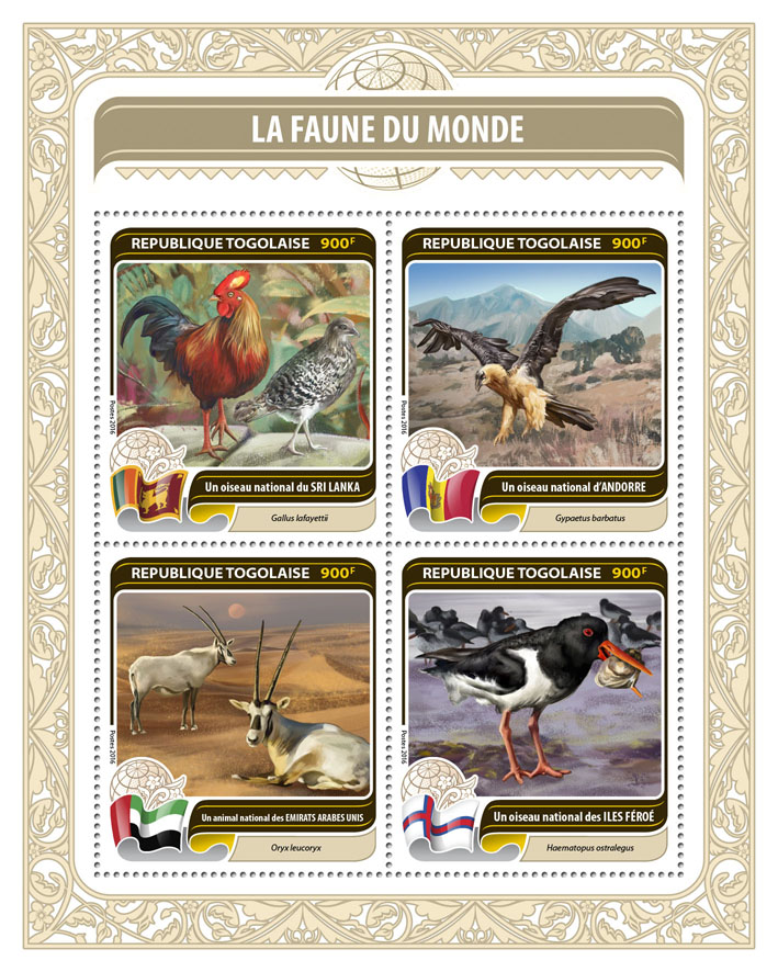 Fauna of the World - Issue of Togo postage stamps