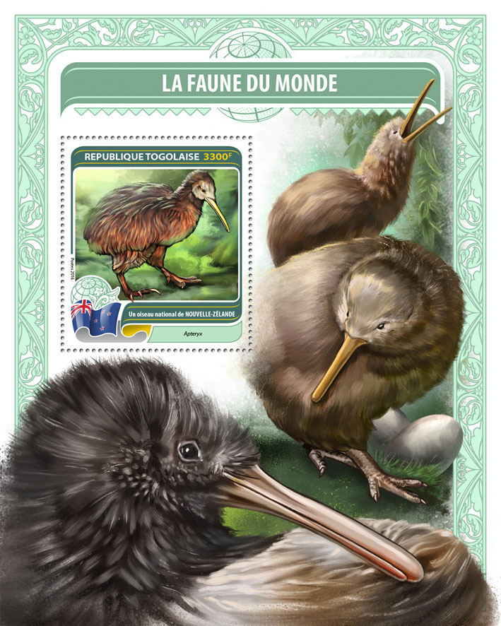 National bird of New Zealand - Issue of Togo postage stamps