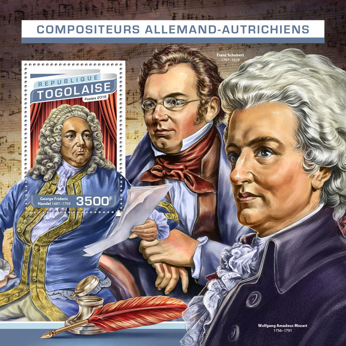 Composers - Issue of Togo postage stamps