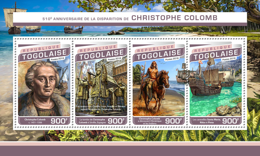Cristopher Columbus - Issue of Togo postage stamps