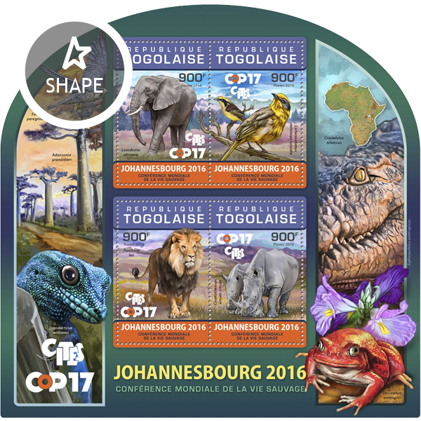 Wildlife - Issue of Togo postage stamps