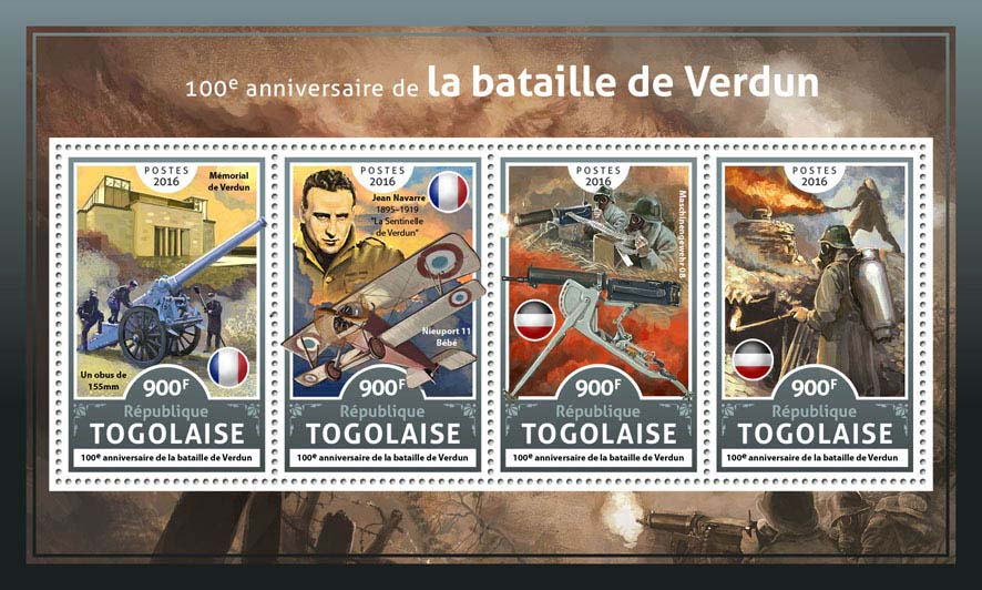 Battle of Verdun  - Issue of Togo postage stamps