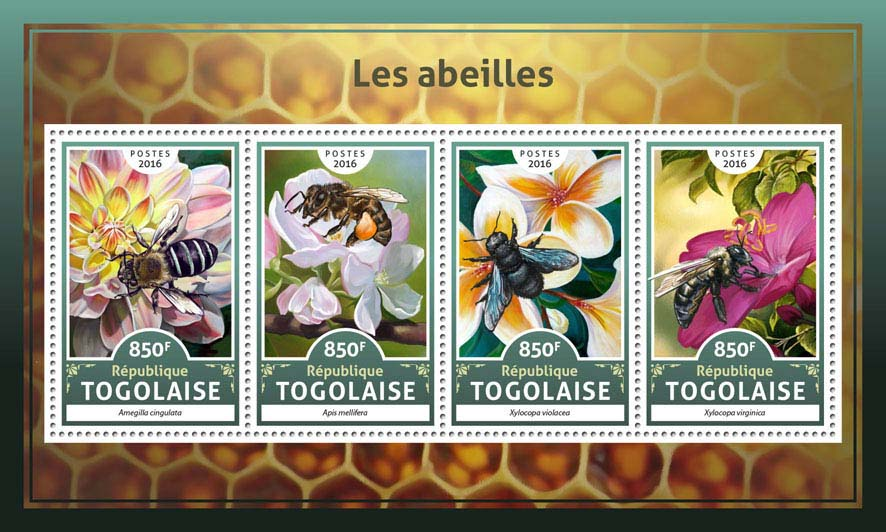 Bees - Issue of Togo postage stamps