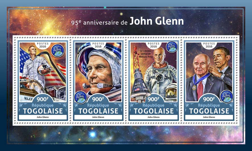 John Glenn - Issue of Togo postage stamps