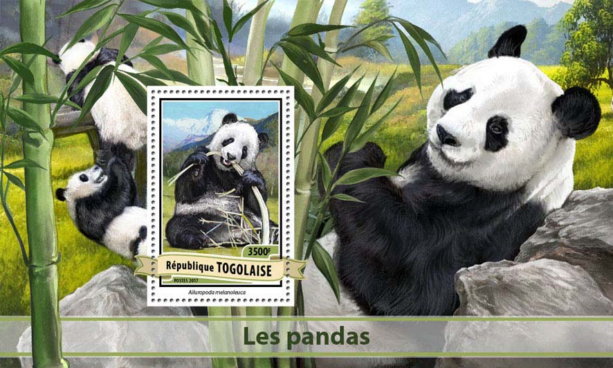 Pandas - Issue of Togo postage stamps