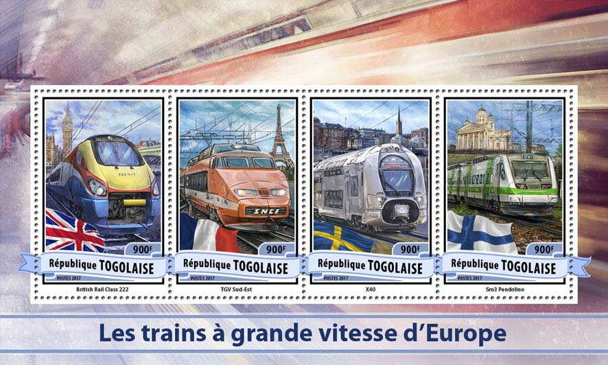 European speed trains - Issue of Togo postage stamps