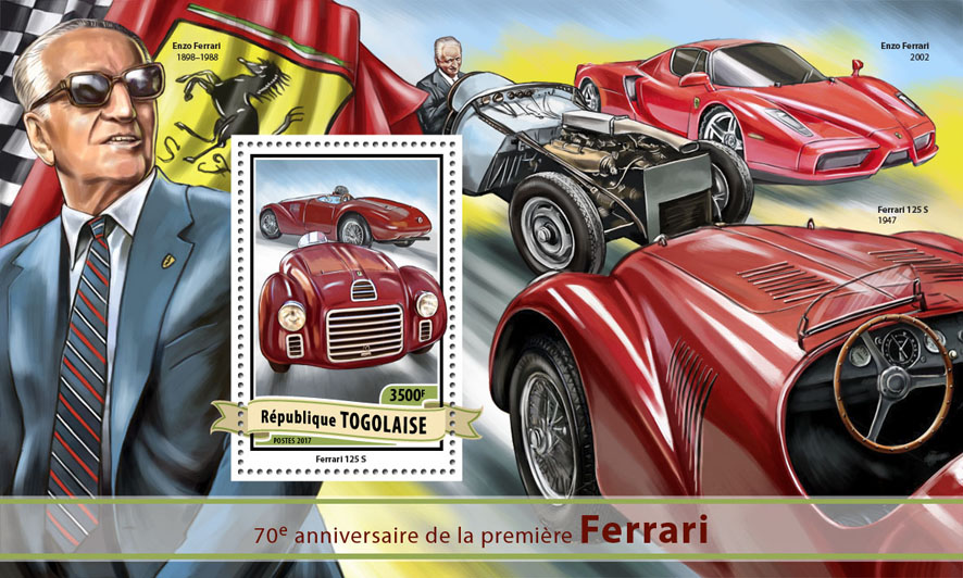 Ferrari - Issue of Togo postage stamps