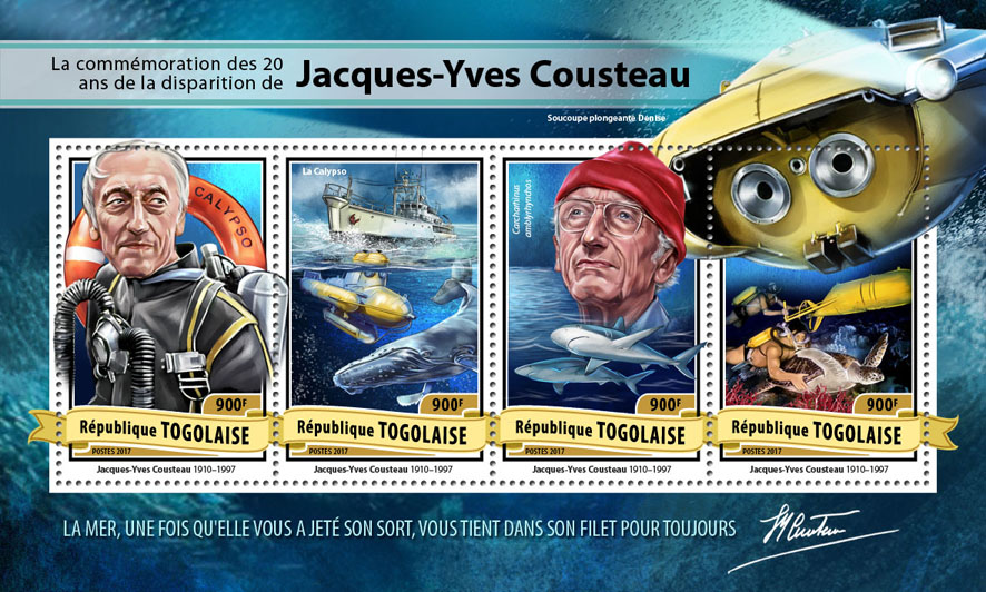 Jacques-Yves Cousteau - Issue of Togo postage stamps