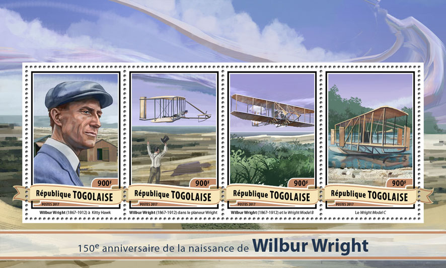 Wilbur Wright - Issue of Togo postage stamps