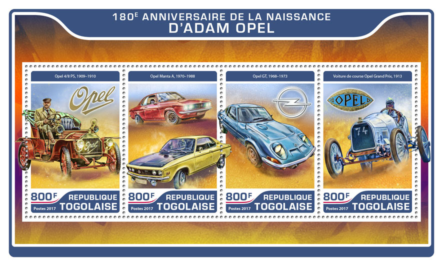 Adam Opel  - Issue of Togo postage stamps