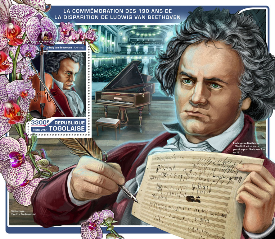 Ludwig van Beethoven - Issue of Togo postage stamps