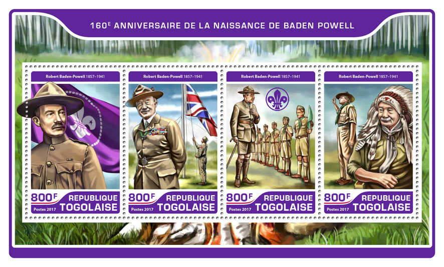 Baden Powell  - Issue of Togo postage stamps