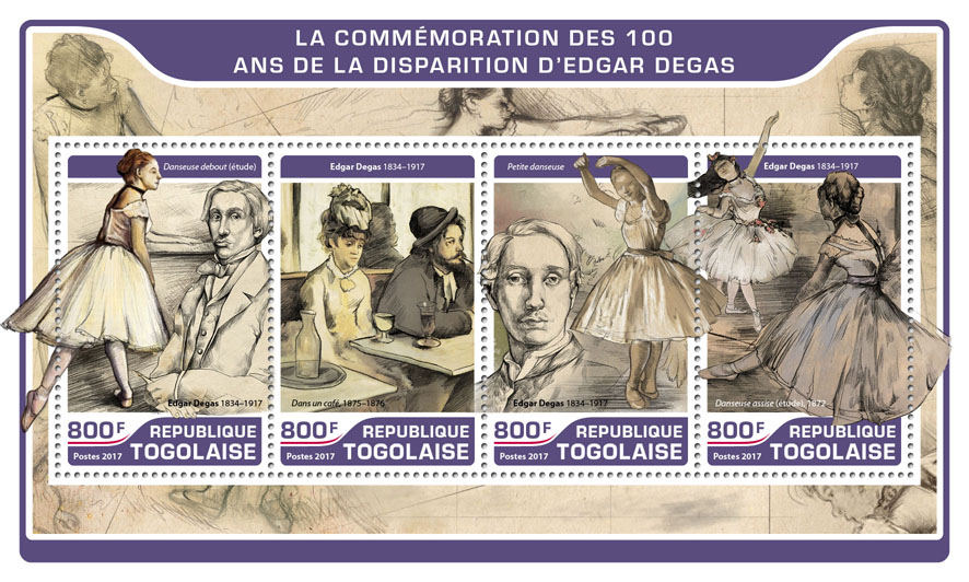 Edgar Degas - Issue of Togo postage stamps