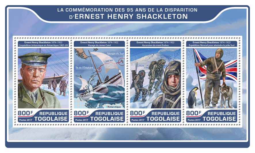 Ernest Henry Shackleton  - Issue of Togo postage stamps