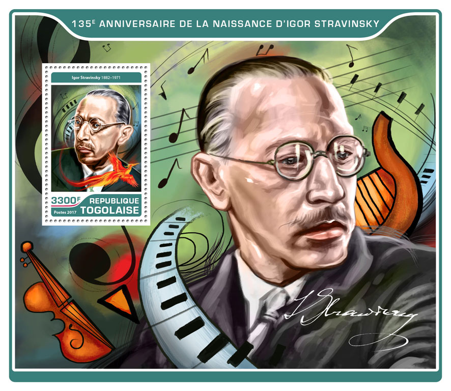 Igor Stravinsky - Issue of Togo postage stamps