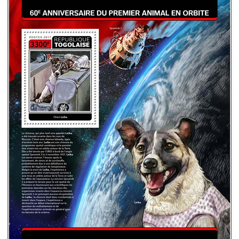 First animal (dog Laika) in space - Issue of Togo postage stamps