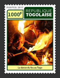 Fire dance of Togo  - Issue of Togo postage stamps