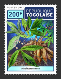 Manihot esculenta - Issue of Togo postage stamps