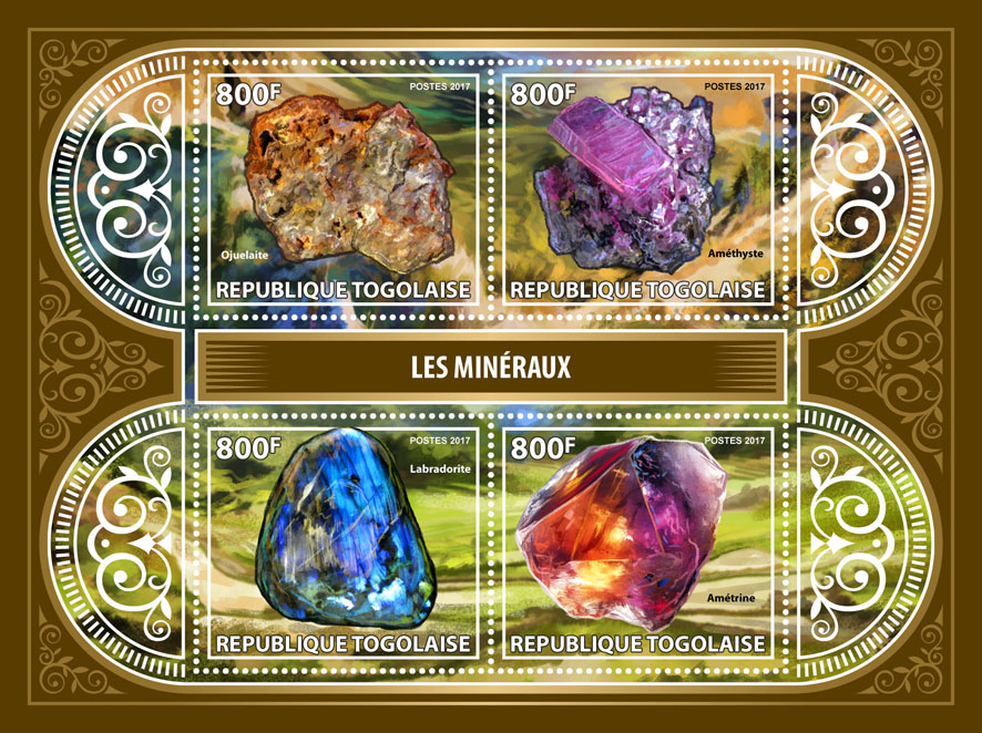 Minerals - Issue of Togo postage stamps