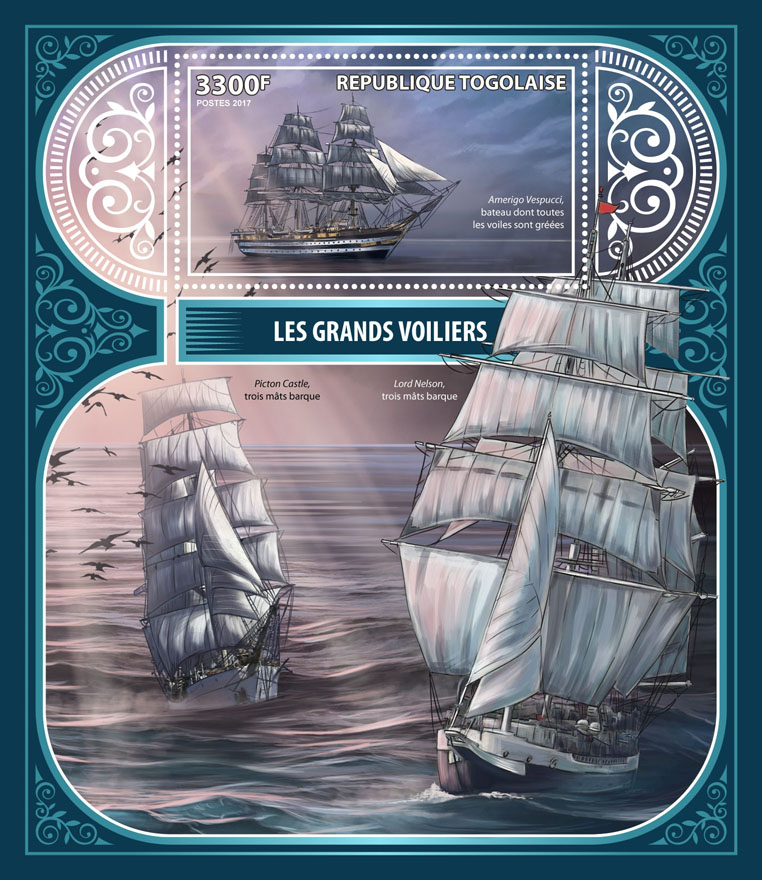 Tall ships - Issue of Togo postage stamps