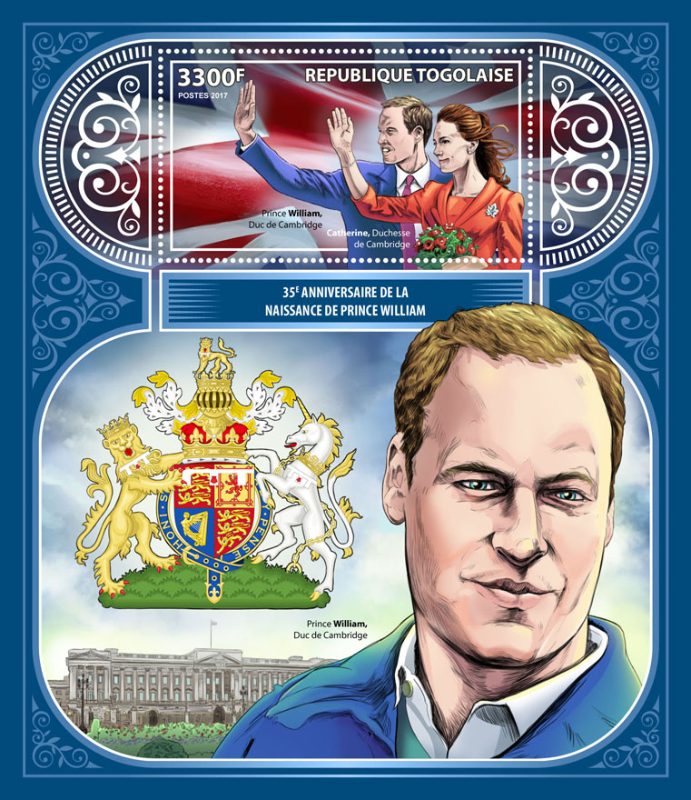 Prince William - Issue of Togo postage stamps
