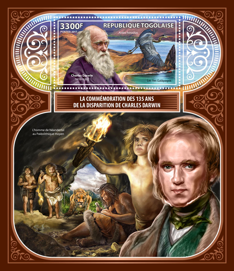 Charles Darwin - Issue of Togo postage stamps