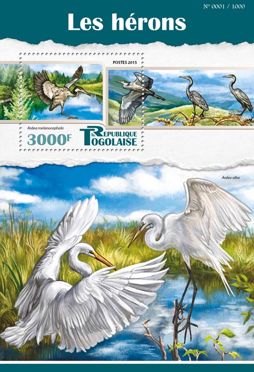 Herons - Issue of Togo postage stamps
