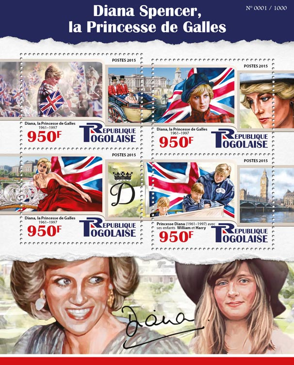 Princess Diana - Issue of Togo postage stamps