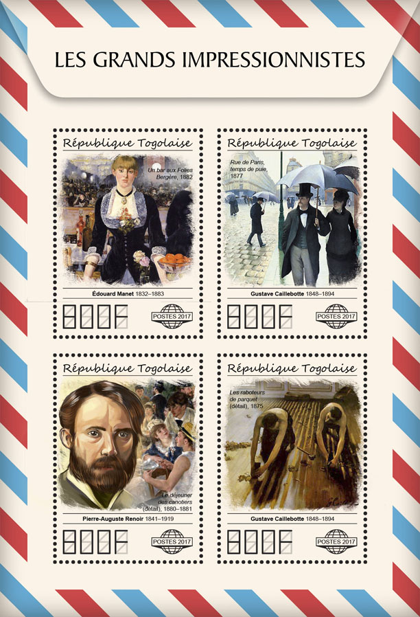 Great impressionists - Issue of Togo postage stamps
