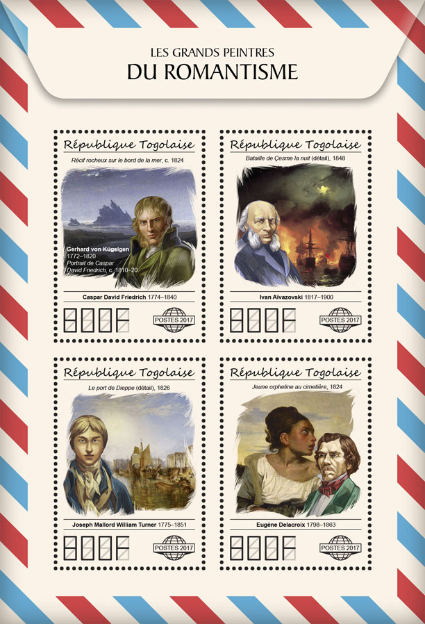Great painters of Romanticism - Issue of Togo postage stamps