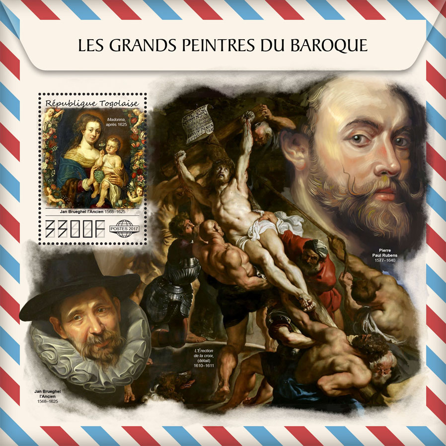 Great painters of Baroque - Issue of Togo postage stamps